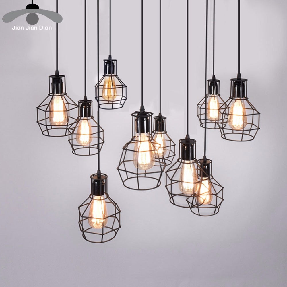 Modern Pendant Light Black Iron Hanging Cage Vintage Led Lamp Bulb