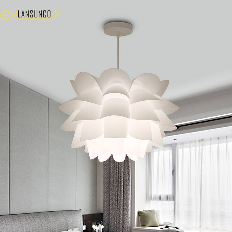 Modern Pendant Lights Lotus Pendant Lamp Art Hanglamp Acrylic PP Suspension Luminaire For Bedroom Living Room Light Fixtures