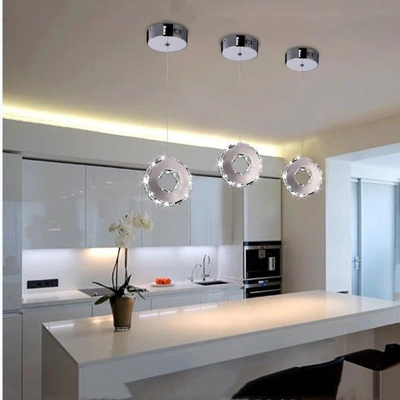 Modern lighting Circular ring Crystal LED Restaurant Bedroom Chandelier Fixture living room Lustre led Light crystal lighting