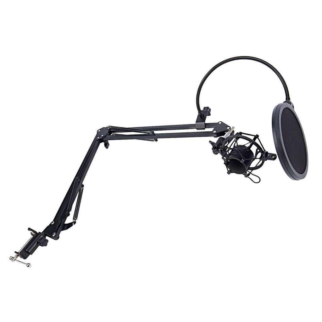 Microphone Scissor Arm Stand and Table Mounting Clamp NW Filter Windscreen Shield Metal Mount Kit