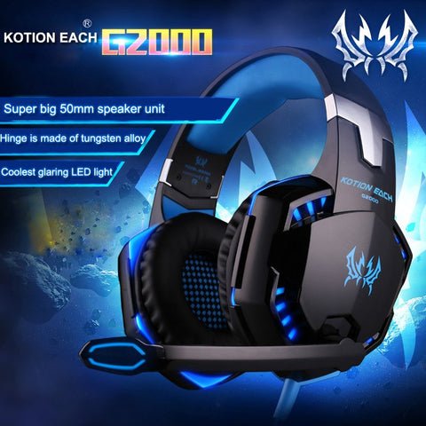 Over-ear Game Gaming Headphone Headset Earphone Headband with Mic Stereo Bass LED Light for PC Game