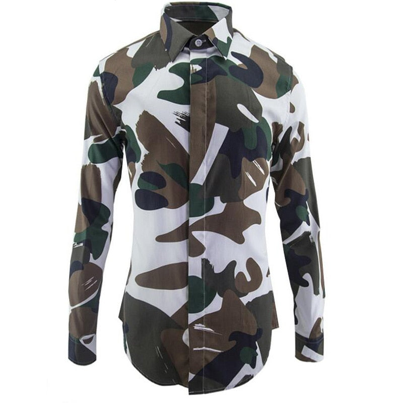 New Army Camouflage 100%Cotton Shirts Slim Body Pattern Shirt
