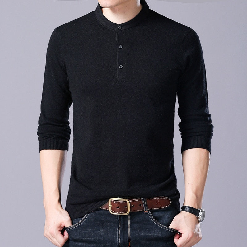 Solid Smart Classic Casual Long sleeve Knited shirts