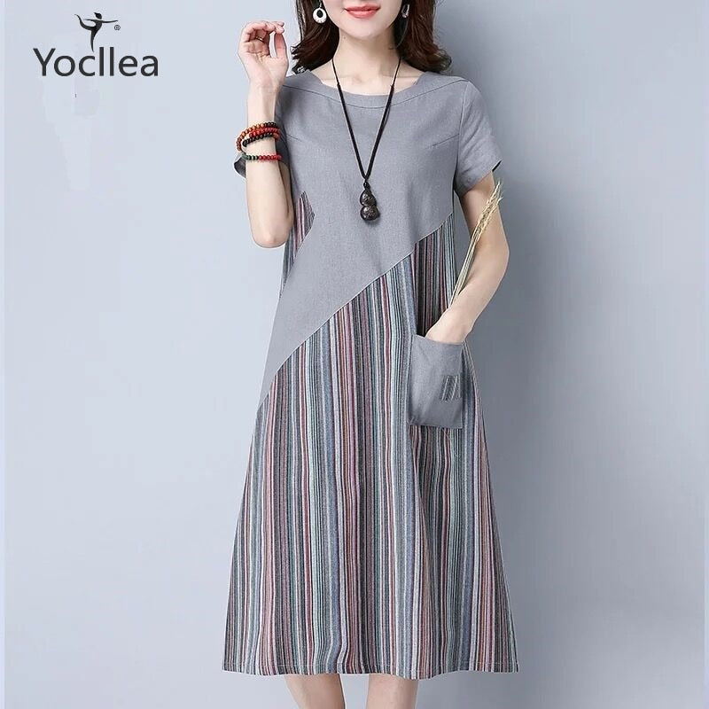 New Summer Loose Plus size Office Casual Striped patchwork Mid Long Short Sleeve A-Line dress
