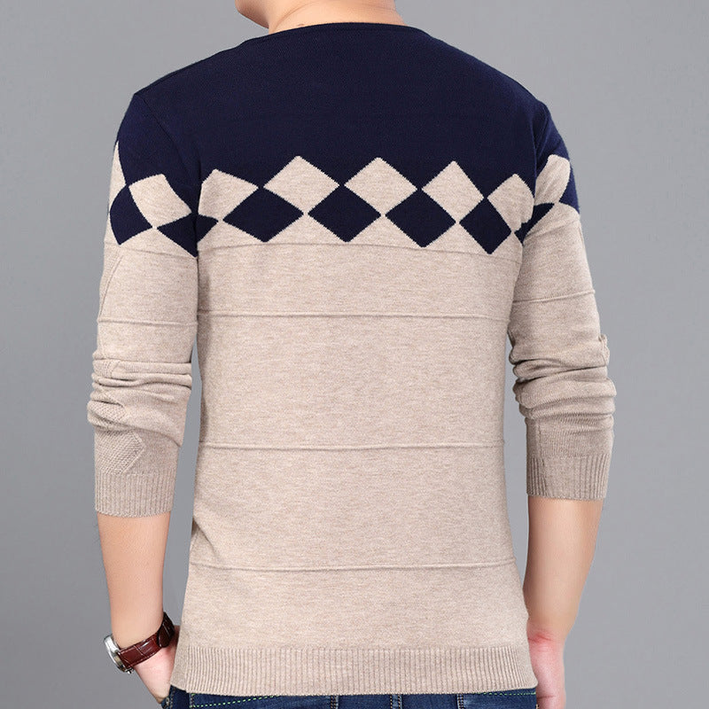 Men Casual long sleeve V neck render knitted Sweater T shirt