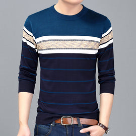 Men Casual long sleeve O- neck Striped knitted Sweater shirts