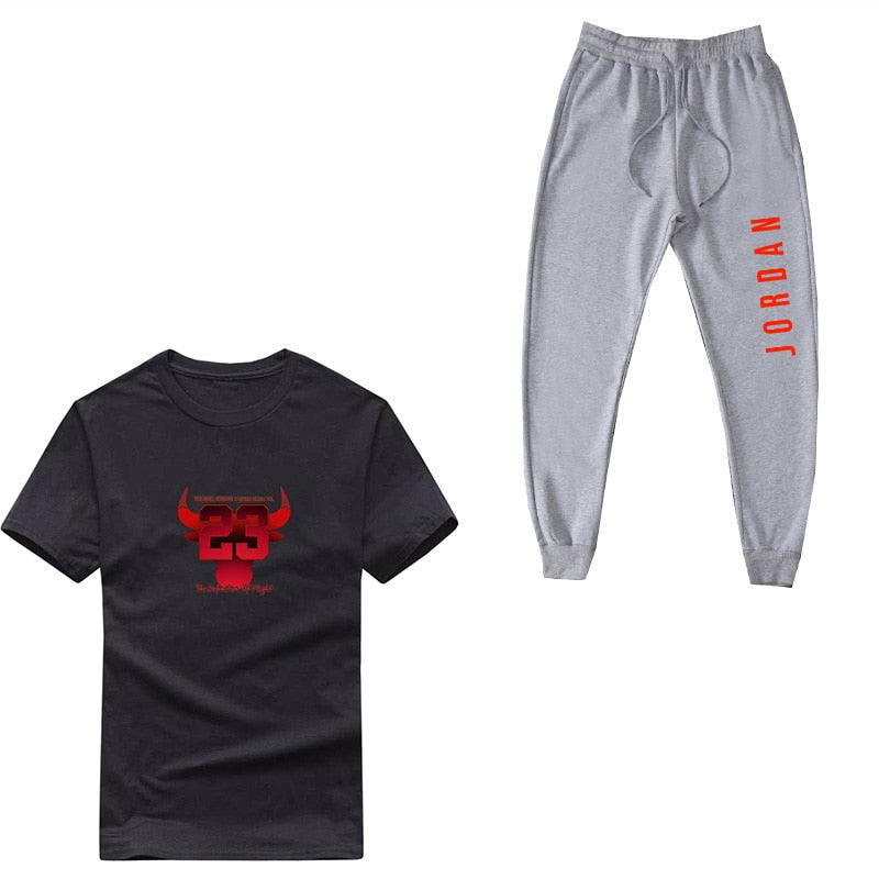 New men's tracksuit Summer Cotton Jordan 23 print Short sleeve suit T Shirts+ Joggers pants