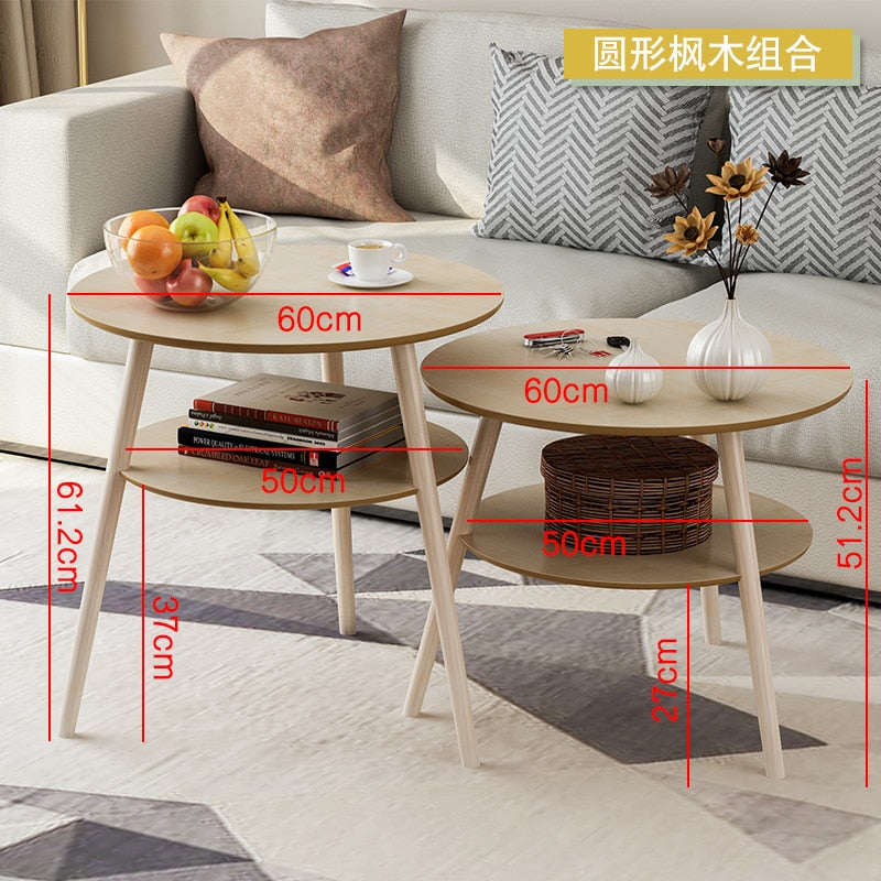 Simple Coffee Table Solid Wood Round Side Table Bedroom Mini Bedside Table European Sofa Corner