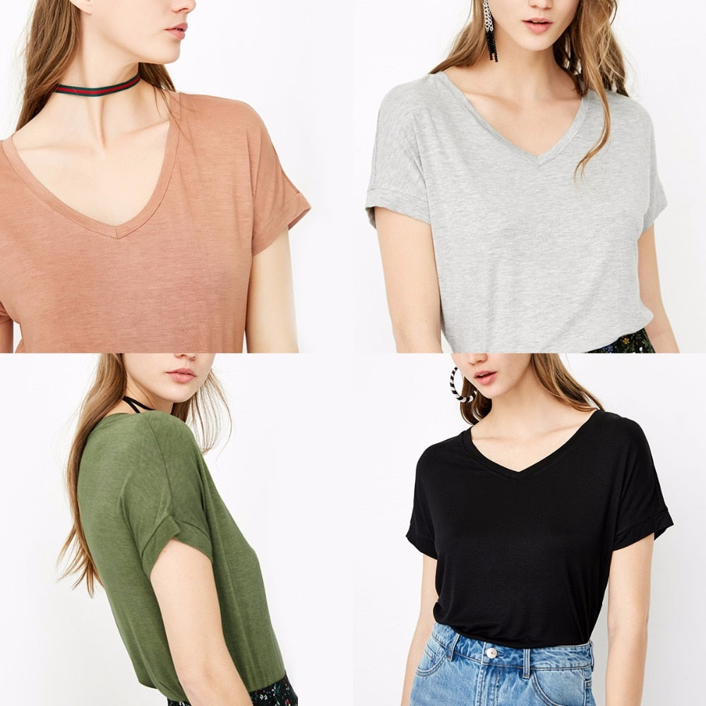 ONLY V-neck pure color loose T shirt Tops casual daily Tees |118101562