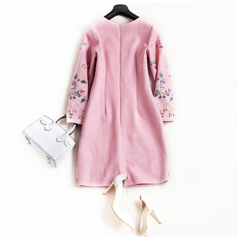 Female Fashion O-Neck Deerskin High Quality Dress