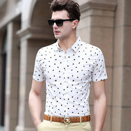 Summer men's fashion Pure cotton slim short-sleeve shirts