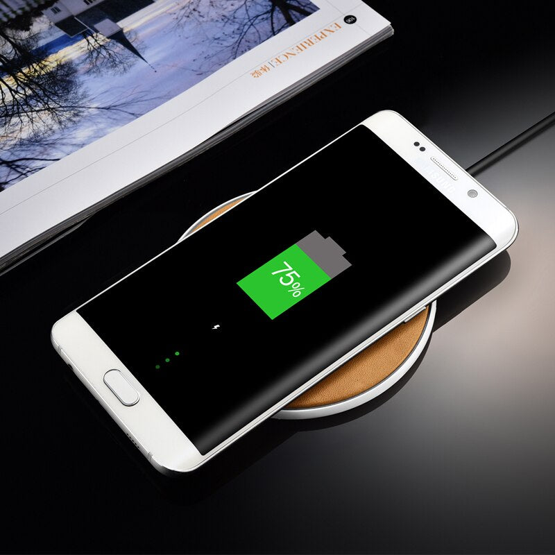 Wireless Charger Genuine Leather Charging Pad For iPhone X 8 Plus Samsung Galaxy S8/ Plus/ S7/ Note 8