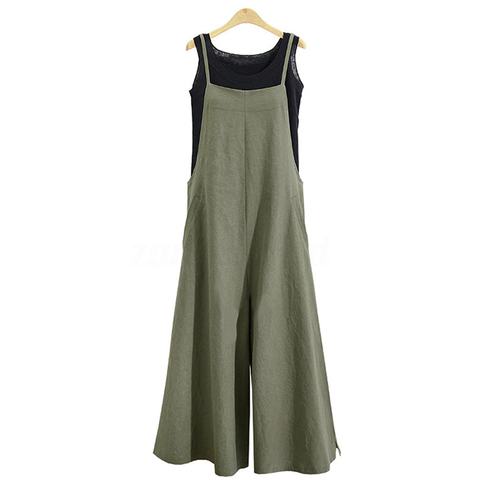 Summer Women Strappy Solid Comfy Wide Leg Jumpsuits