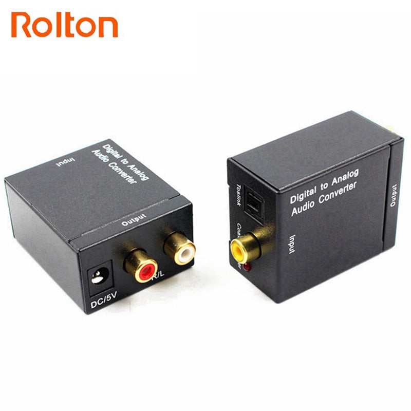 Digital to Analog Audio Converter DAC Amplifier Decoder Fiber Coaxial Coax Audio RCA Signal to Analog L/R Audio Adapter