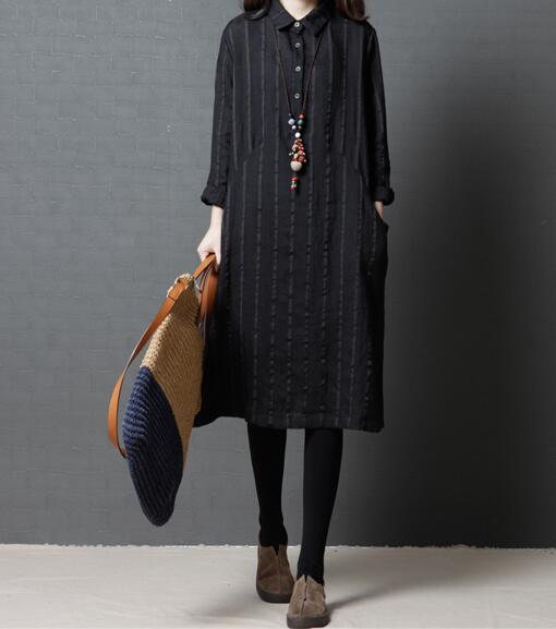 Casual Loose A-Line Striped cotton Linen dress