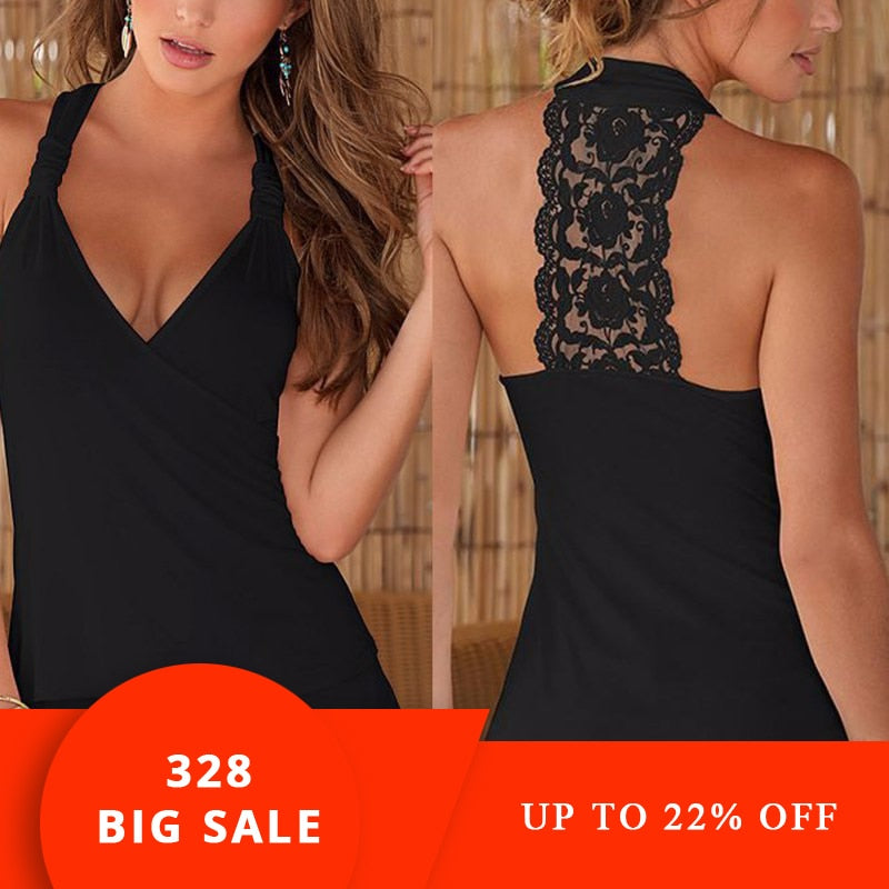 Summer New Fashion Womens top Sexy Lace Tops Crochet Back Hollow-out Women Vest Camisole Lace Black White Vest