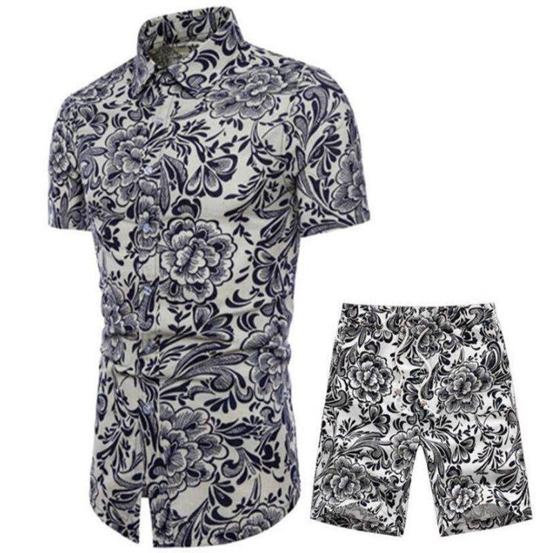 Summer ethnic style fashion floral shirt men's lace-up shorts suit