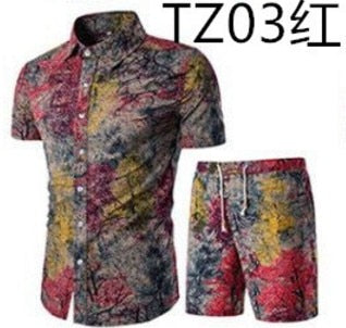 T-shirt + shorts summer men's sports suit,5XL large size men's short-sleeved suit