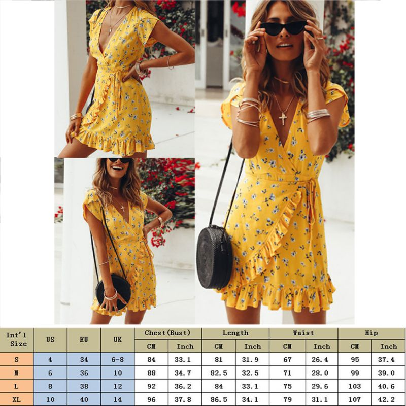 V Neck Ruffles Print Casual Yellow Dress