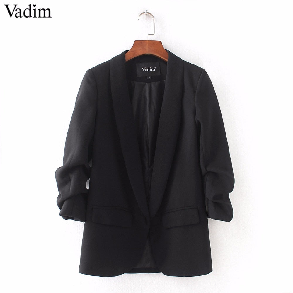 Vadim women elegant 4  blazer crimping three quarter sleeve outerwear notched pocket office casual tops CT1504