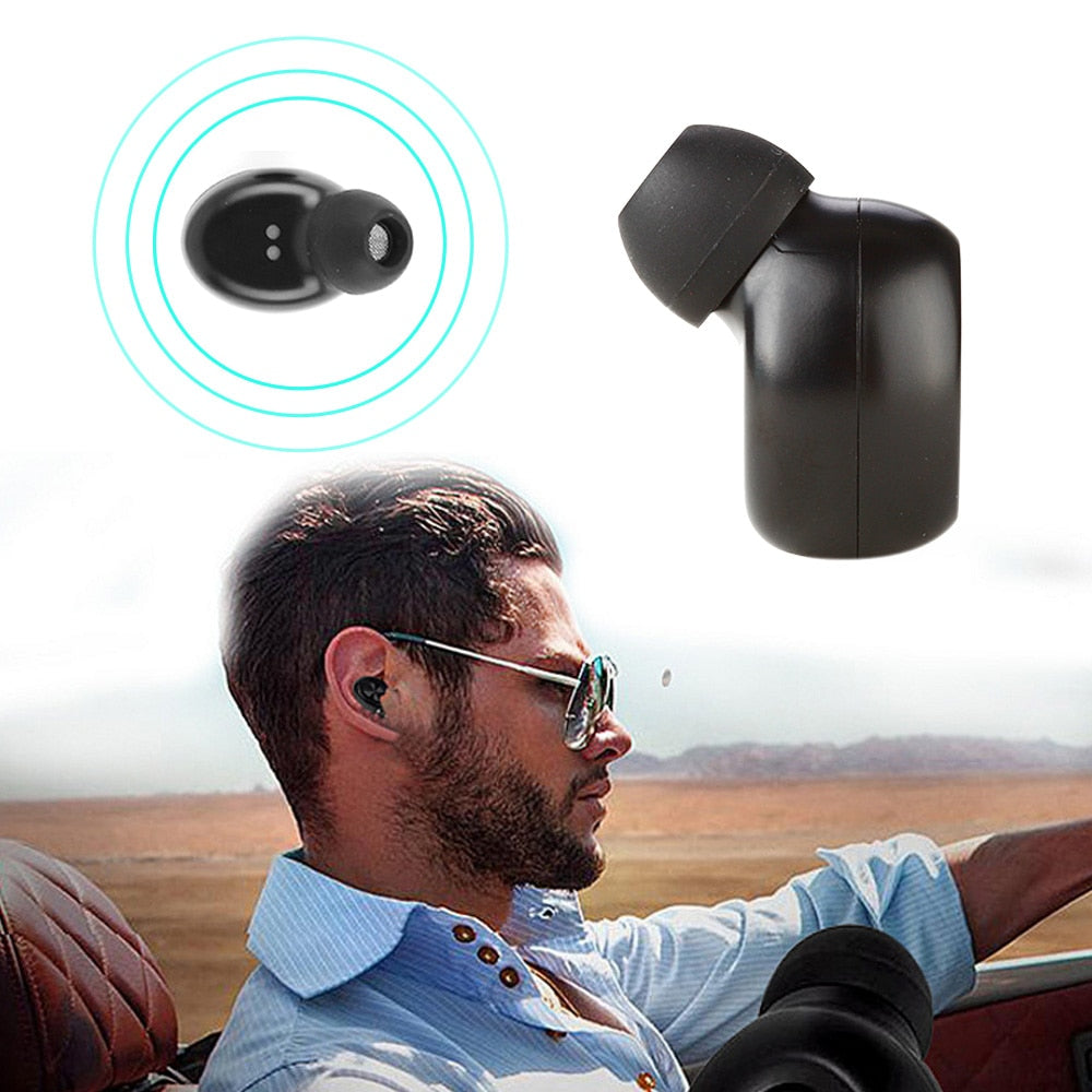 Car Bluetooth Headset Mini Wireless Earbud with Mic Stereo In-ear Earphone Magnetic USB Charger Headsets for Smartphone