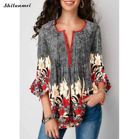Women Three Quarter Sleeve Floral Print Causal Loose Tunic Women Shirts