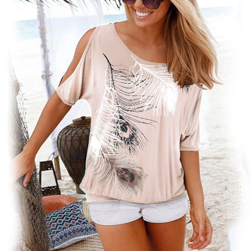 Women Shirt Casual Summer Blouse 2019 Short Batwing Sleeve Loose Tops Cold Shoulder Feather Print Shirt Plus Size Blouse 5XL