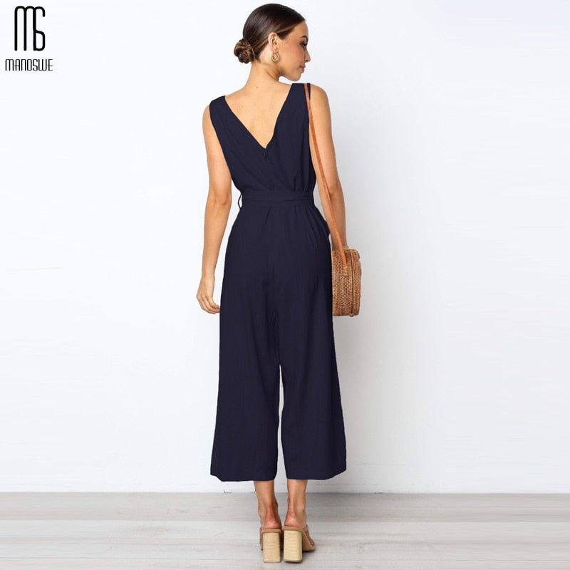 Women's Casual Button Cotton V Neck Jumpsuit Sexy Loose Backless Solid Sleeveless Clothes for Spring Summer 2019