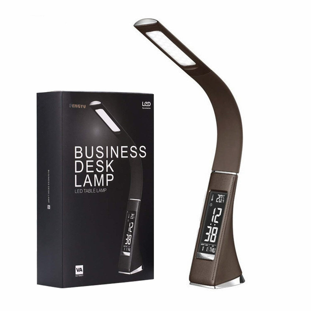 Gooseneck LED Office Desk Lamp Touch Leather-Like Dimming Reading Table Lamp Light With Alarm Clock Calendar LCD Display