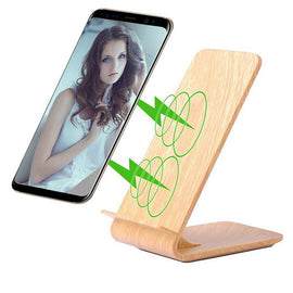 Wooden Fast Wireless Charger Stand For Iphone X 8 10W 2-Coil Qi Wireless Charging Phone Holder For Samsung Galaxy S9 S8 Note 8