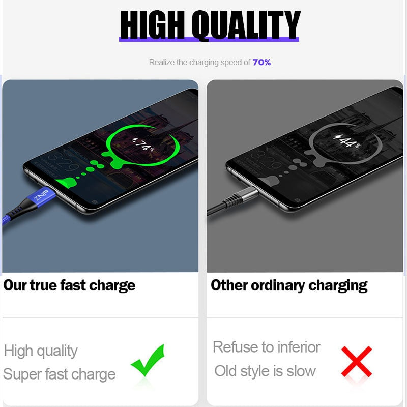 ZNP Micro USB Cable 3A Fast Charging Microusb Charger Cord For Samsung Xiaomi Redmi Note 5 Pro Honor Tablet Android Phone Micro