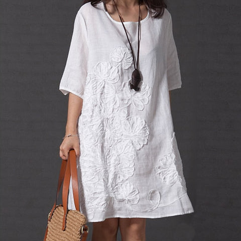 Chineses ethnic folk cotton linen Women Summer Round Neck Solid Color Beach Casual Half Sleeve Loose applique Dress