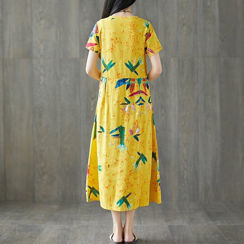 Cotton linen plus size vintage floral women casual loose long summer elegant dresses