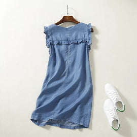 High waist sleeveless mini soft jeans frilled women ruffles casual summer short denim beach dress