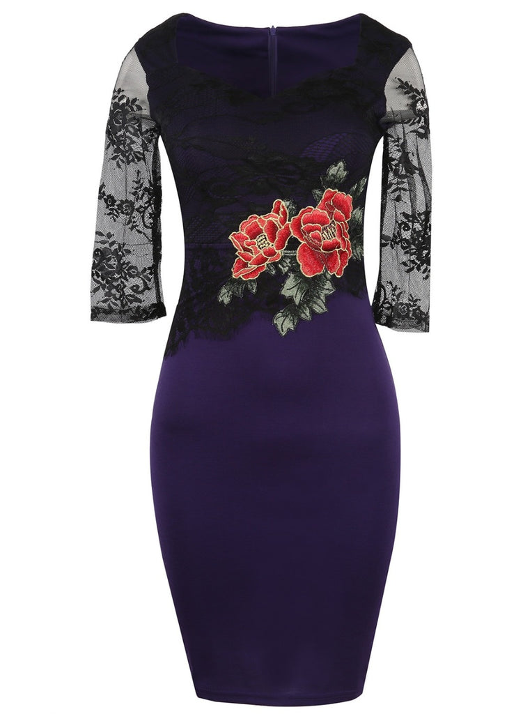 Ladies three quarter embroidery flower pencil knee length dress
