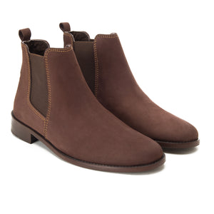 Brown Nubuq Chelsea Half-Boot
