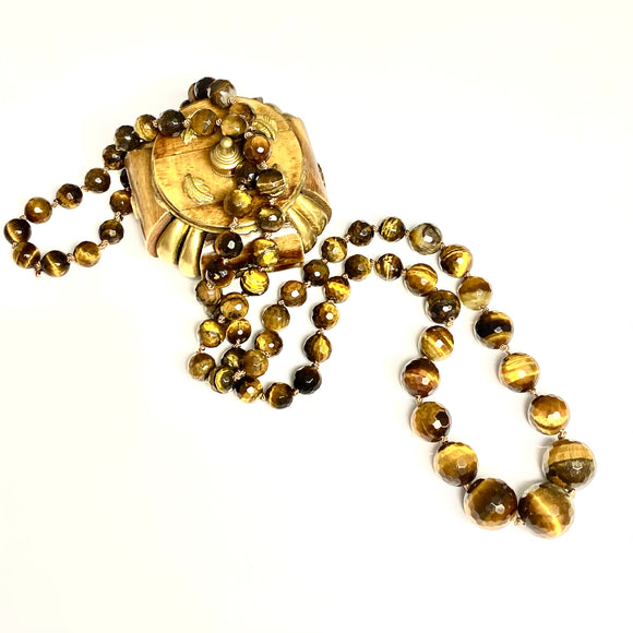 Mala Necklace-Gold Tiger Eye Faceted