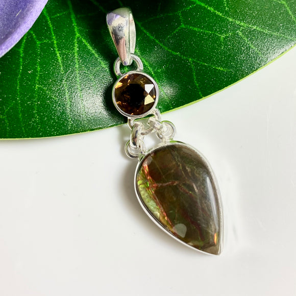 AMMOLITE AND TOURMALINE PENDANT #1