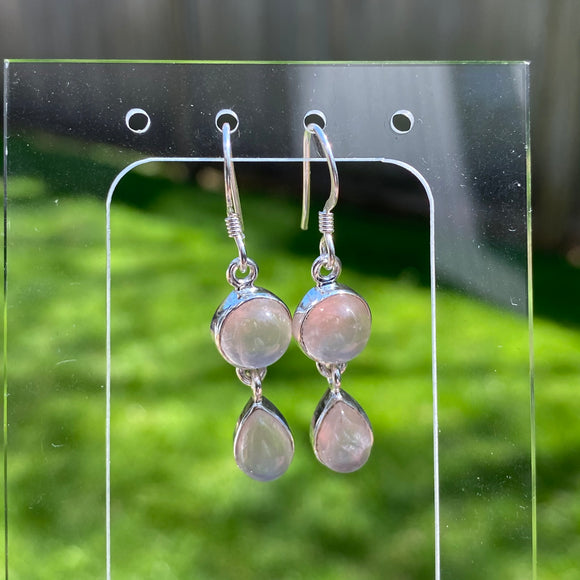 Rose Quartz Drop Earrings #2