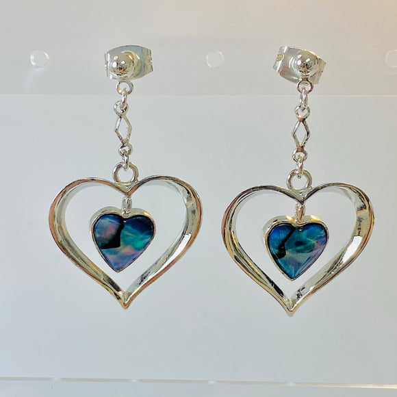 Paua Abalone Heart Drop Earrings
