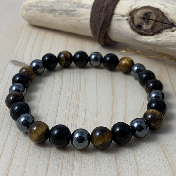 Rainbow Obsidian, Gold Tiger Eye, Hematite Bracelet / yoga jewelry / gemstone / gift ideas / crystals / healing crystals / beaded bracelets / made in Canada