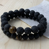 LAVA STONE AND GOLD TIGER EYE BRACELET #1