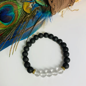 Lava Stone and Clear Crystal Quartz Bracelet