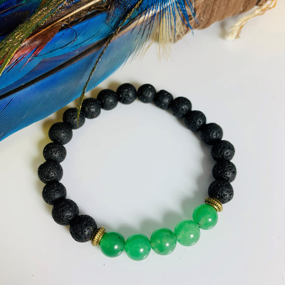 LAVA STONE AND GREEN AVENTURINE BRACELET