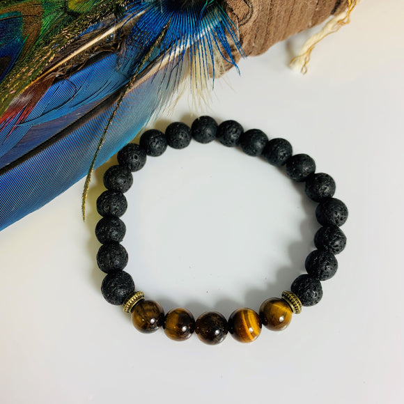 BLACK LAVA STONE AND GOLD TIGER EYE BRACELET #2