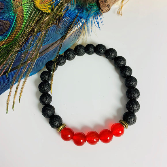 LAVA STONE AND RED AGATE BRACELET
