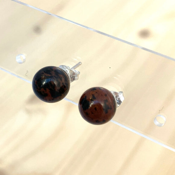 MAHOGANY OBSIDIAN POST EARRINGS