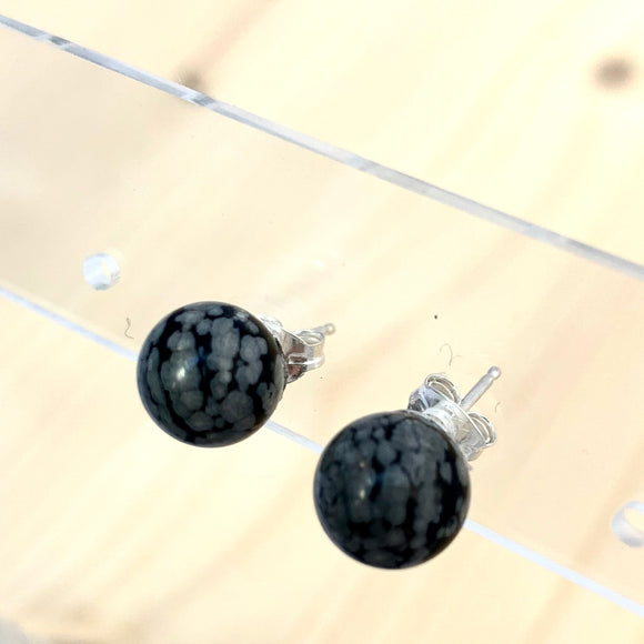 SNOWFLAKE OBSIDIAN POST EARRINGS