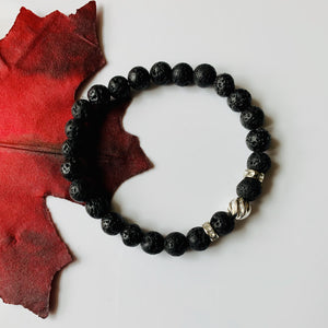 LAVA STONE AND STERLING SILVER BEAD BRACELET