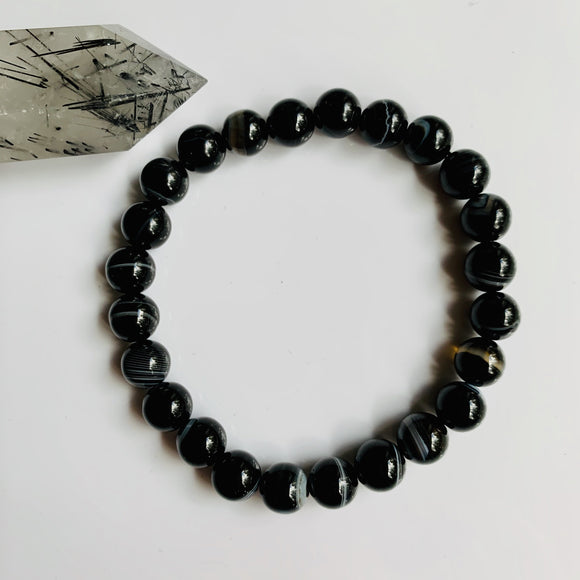 Black Onyx Banded Bracelet / yoga jewelry / gemstone / gift ideas / crystals / healing crystals / beaded bracelets / made in Canada
